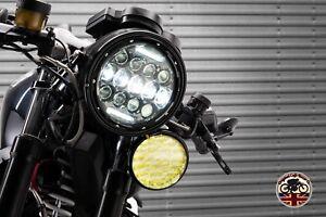 "Motorbike LED Headlights 75W RHD + LHD 7"" Inch FLY EYE Lens - E Approved"