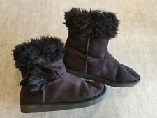 Size 3 (36) black faux suede fur lined ankle boots
