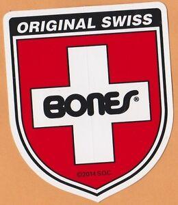 "Powell Peralta Original Swiss 4"" Bones Cross Shield Skateboard Sticker"