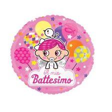 """PALLONCINO TONDO IL MIO BATTESIMO BIMBA ROSA 18"""" 46 cm diam PARTY FESTA MYLAR"""