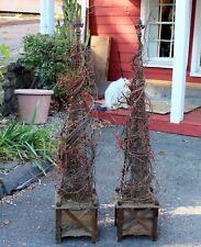 Pair French Vintage Wrought Iron Garden Obelisk Planters Trellis Topiary Holiday