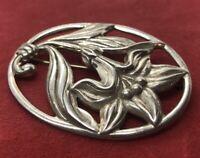 Vintage Sterling Silver Brooch Pin 925 Danecraft Signed Flower