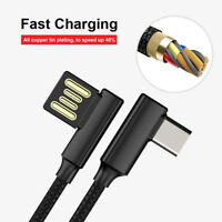 Braided 90 Degree Right Angle Type C/ Micro USB Fast Data Sync Charger Cable