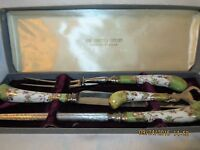 SHEFFIELD ENGLAND CUTTING KNIFE SET FLORIAN PATTERN EXCELLENT VINTAGE CONDITION