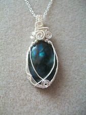 Handmade  Wire Wrapped Labradorite Gemstone Cabochon Pendant Necklace