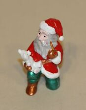 Pewter Image Figurine Santa Claus Kneeling with White Teddy Bear and Pipe