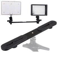 "Dual Camera Flash Hot Shoe Bracket Holder One to Two Switcher Bar Metal 1/4"""