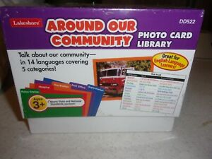 LAKESHORE AROUND OUR COMMUNITY PHOTO CARD LIBRARY 14 LANGUAGES NIB DD522