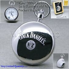 2006 Edition Silver Jack Daniels Steel Polish Men Pocket Watch Chain Wood Box 31