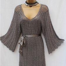 Karen Millen Crochet Knitted Silver Metallic Boho Cocktail Party Dress KM3/12-14