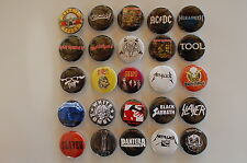 Heavy Metal Rock Buttons Pins 1.25 Inch Slayer Metallica Tool Lot of 25(LB4)