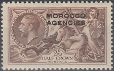 MOROCCO AGENCIES 1922 SG73 RE-ENGRAVED SEAHORSES 2/6 BROWN OVERPRINT