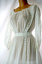 Antique Victorian or Edwardian white cotton dress, whitework lace