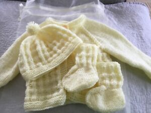 HAND KNITTED NEW BORN BABY CARDIGAN, HAT & BOOTIES IN LEMON