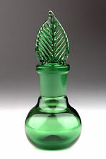 Blown Glass Perfume Bottle with Ground Stopper - Green - Handmade