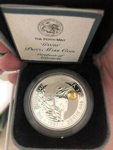 1997 Australia Kookaburra Gaudi Gold Privy Mark One Dollar Silver Coin