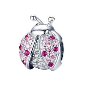 SOLID Sterling Silver Sparkling Pink Ladybird Garden Charm by YOUnique Designs