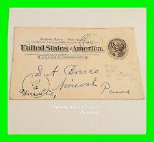 U.S. Scott UX12 Jan. 21 1897 ~ Used 1 Cent Postal Card ~ Unique