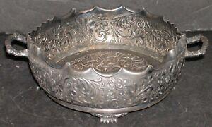 """Antique Pairpoint Repousee Quadruple Floral Bowl 2 Handle Scalloped Rim 8x3"""""""