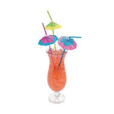 48 Umbrella Parasol Straws - Bendy w/ Hibiscus Print, Tiki Luau Party Supplies