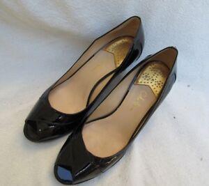 Black Patent Leather Open Toe Heel Shoe Women 10 B Cole Haan Air