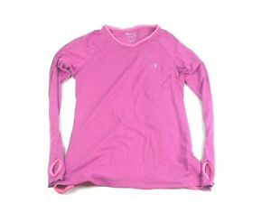Champion Striped Pink Yoga thumbhole Athletic Top Size Large