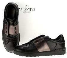 NEW VALENTINO BLACK GUN METAL LEATHER ROCKSTUD LOW-TOP SNEAKERS SHOES 45/12