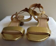 J CREW Evie Metallic Midheel Sandals Size 6 Gold #a1073 $188