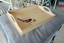 Shabby Tablett Deko Ablage Motiv Vögelchen Holz 7x44x29cm Retro Antik Look Neu k