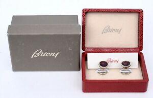 "$1200 NIB BRIONI Bordeaux Red Silver Toned Brioni ""B"" Cufflinks 12 mm 1/2"""