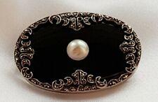 Brooch ~ Black Onyx ~ Pearl ~ Marcasites ~ Hallmarked 935 Silver ~ Antique