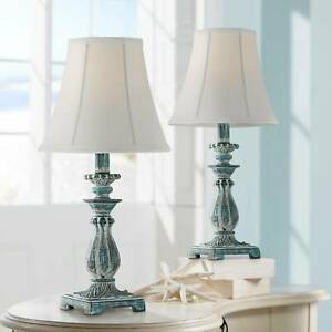 Cali Blue Candlestick Accent Table Lamps - Set of 2