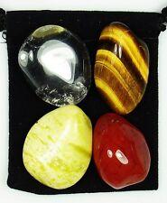 AWAKENING the KUNDALINI Tumbled Crystal Healing Set = 4 Stones + Pouch + Card