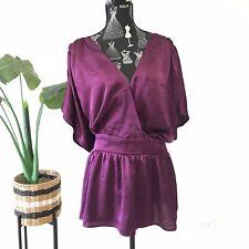 City Chic Purple Top Size XL Plus Size Blouse Waist Tie Classic Party Casual