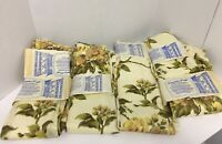 "Vintage New Old Stock Drapery Panels. Beautiful Pale Yellow Floral Print 24""X84"""