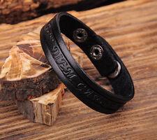 Jg369 Black Rock Single Wrap Vintage Embossed Leather Wristband Bracelet Cuff