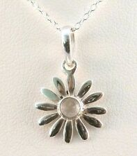 Silver Daisy Pendant With Rainbow Moonstone Centre on a Sterling Silver Chain