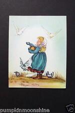 Unused 1946 Ars Sacra Xmas Greeting Card by Tasha Tudor ~ Feeding the Birds