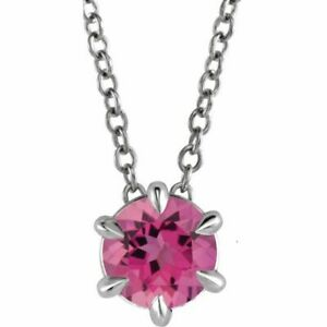 "Pink Tourmaline Solitaire 16-18"" Necklace In Platinum"