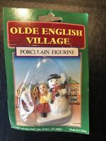 Vintage Olde English Village, Christmas Figurine, girl and snowman NOS