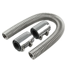 "24"" Stainless Steel Chrome Radiator Flex Coolant Water Hose Kit With Cap"