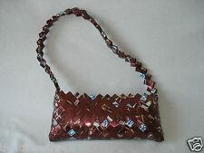 Candy Wrapper Purse Handbag Clutch Small Chocolate Brown Blue White Strap Zip