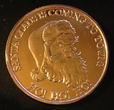 1 OZ .999 COPPER CHRISTMAS ROUND - HO! HO! HO! SANTA CLAUS IS COMING TO TOWN