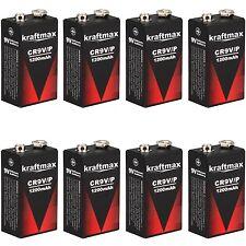 8x Rauchmelder 9V Lithium Batterien für Feuermelder / 9v Block Batterie 10 Jahre