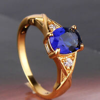 Graceful 24k yellow gold filled ring ! Nice oval cut sapphire ring SzJ-SzR