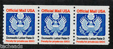 O135 & O139 USA - OFFICIAL MAIL PNC Coil Stamp Strip of 3 PNC #1 MNH