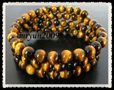 Free TOP 50PCS 100% Natural Shiny Tiger's Eye Loose Stone Round Spacer Beads 6mm