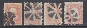 US Sc 65 used 1861 3c Washington w/ Circle of Wedges Fancy Cancels, 4 diff