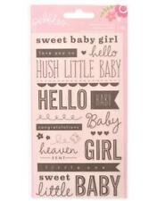 Pebbles SWEET BABY Girl Watermark Rub Ons Phrases American Crafts