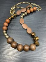 """Ladies Vintage Bohemian Wood And Crystal Beaded Long Strand Necklace 34"""""""